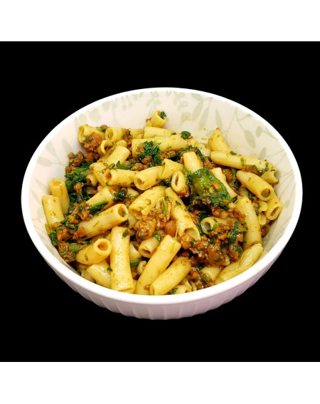 Spinach and Faux Meat Pasta
