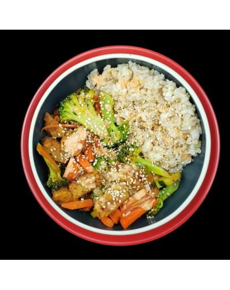 Korean Tempeh Bowls with Broccoli, Brown Rice, and Sriracha Mayo