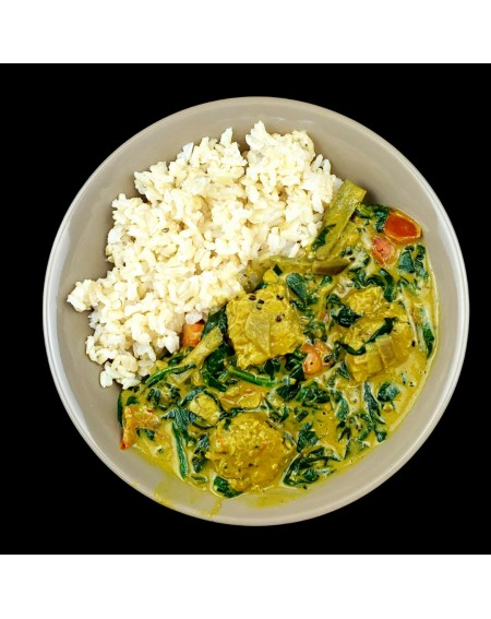 Peanut Tempeh Curry with Spinach