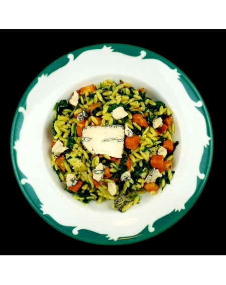Orzo with Spinach, Sweet Potato & Vegan Blue Cheese